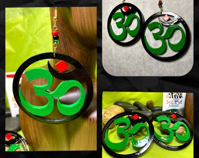 Hand painted RBG Om Symbol Hoop Earrings