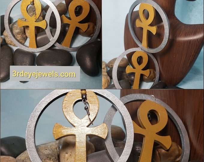 Hand Painted Ankh Earrings:  Gray and Silver