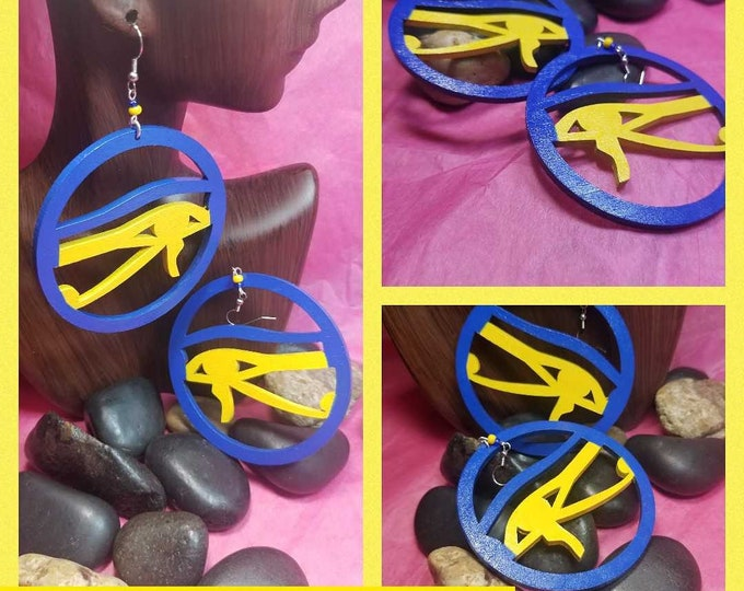 Eye of Heru Hoop Earrings:  Hand painted Blue and Yellow