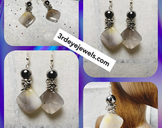 Handmade Agate Stone Drop Dangle Earrings with glass beads and metal accents