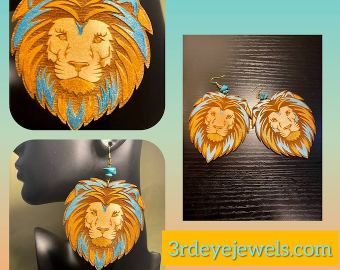 Hand Painted Lion Head Earrings:  Turquoise and Gold