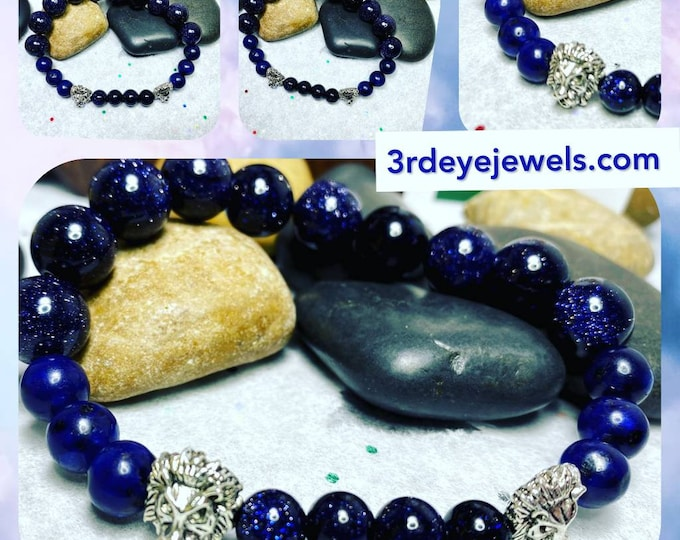 Handmade Men's Stretch Bracelet with Sandstone, LionHeads and Agate Stones
