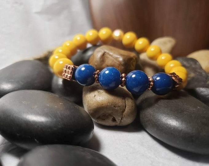 Ladies Stretch Bracelet with Yellow Glass Beads, Copper Colored Accents and Blue Jade.