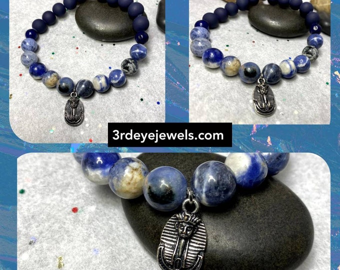 Handmade Men's Stretch Charm Bracelet with Sodalite and Clay Beads