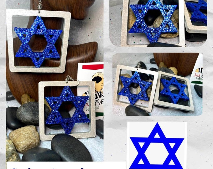 Hand painted Blue and Pearl White:  Star of David Earrings