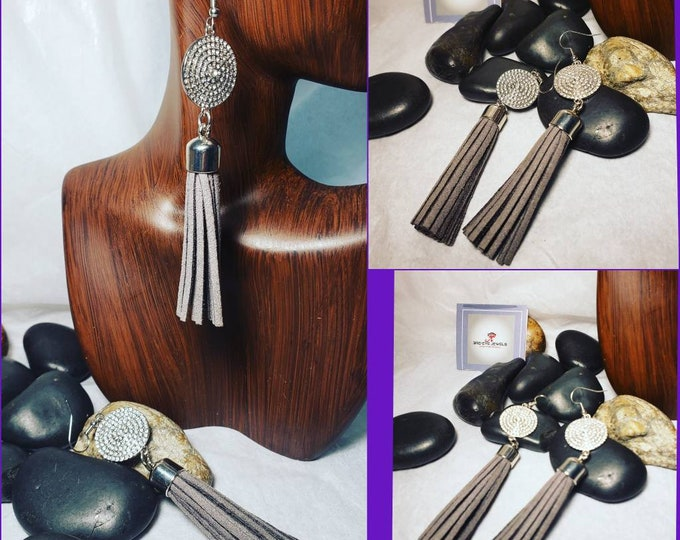 Hand Crafted Tassel Earrings with Silver Bling Embellishment