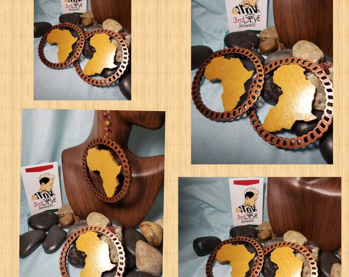 The Mother Land:  Hand Painted Africa Hoop Earrings