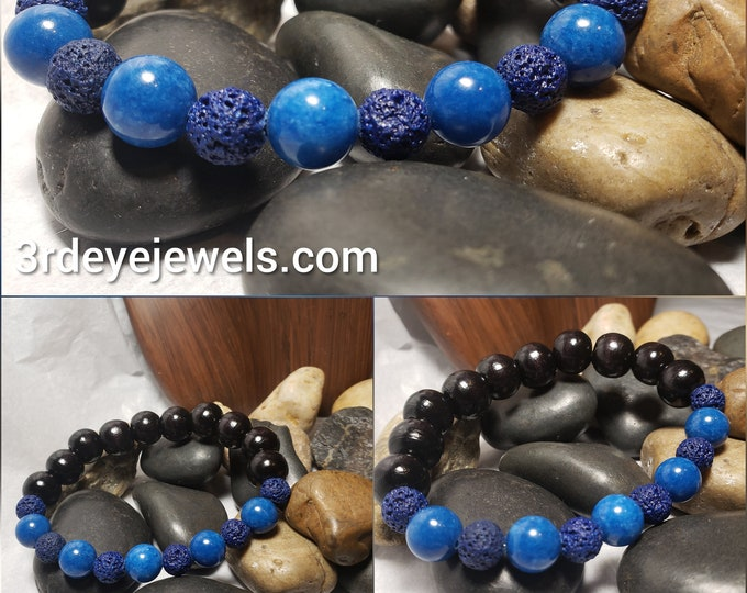 Men's Stretch Bracelet with Wood Beads and Blue Jade