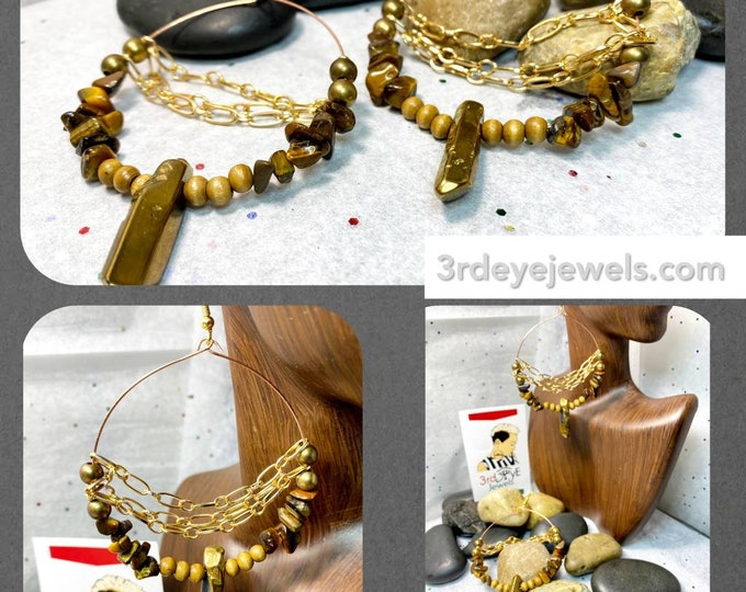 Handmade Wire Hoop Exotic Earrings:  Tigers Eye, Druzy Stone, Wood Beads, Glass Beads and Gold Chains