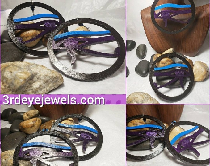 Hand Painted in Blue, black and purple:  Eye of Ra Hoop Earrings