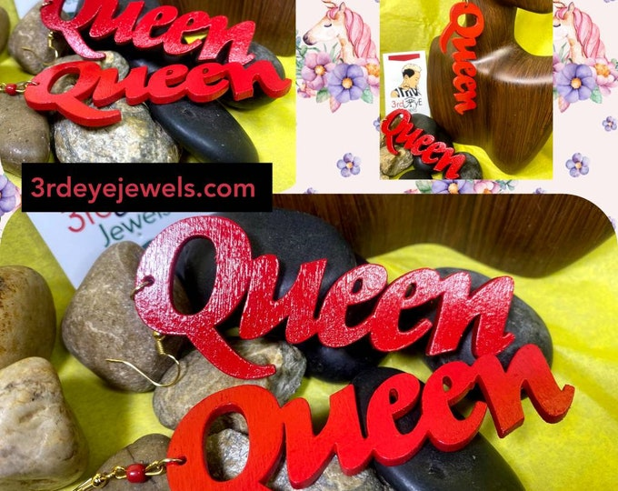 Hand painted Real Red:  Queen Dangle Earrings