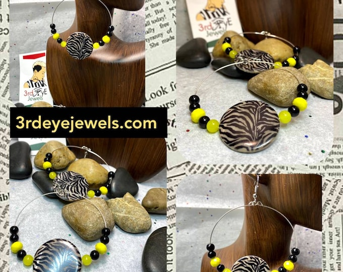 Handmade Wire Hoop Earrings with Black Glass Beads, Yellow Agate and Zebra Bead
