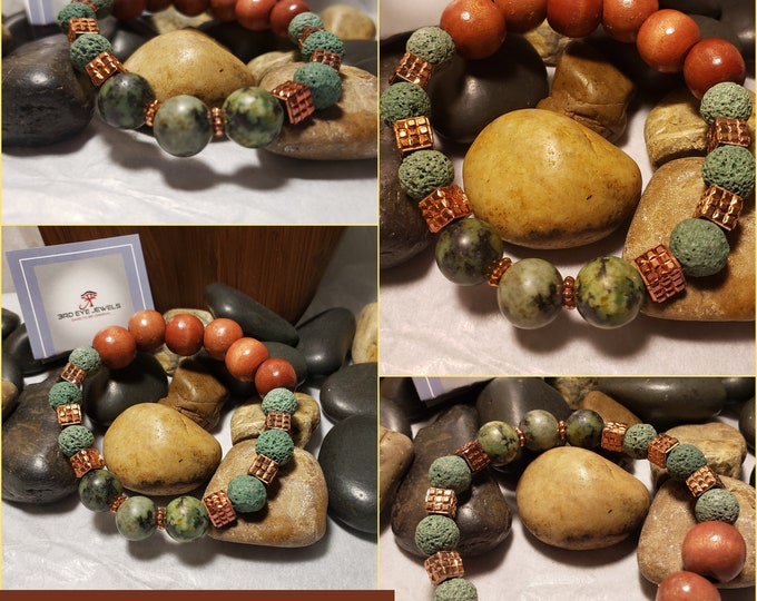 Men's African Turquoise, Lava Stones, Wood beads and Copper Colored Accents