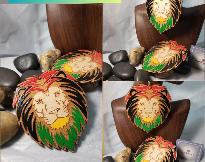 Lion Head Earrings:  Hand Painted Red, Black Green and Yellow