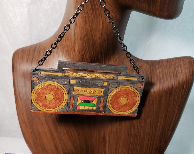 Retro Boom Box RADIO, Hand Painted Chain Dangle Earrings