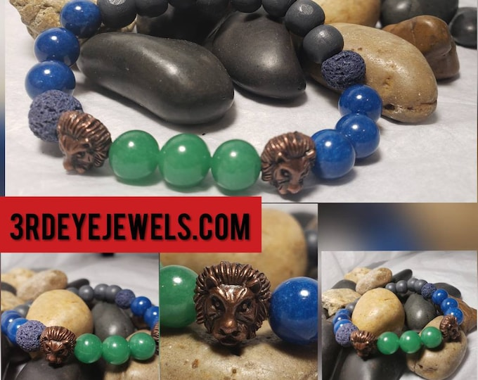 Men's Stretch Bracelet:  Lion Head Accent Beads with Blue Jade, Green Aventurine, Lava Stones and Wood Beads.
