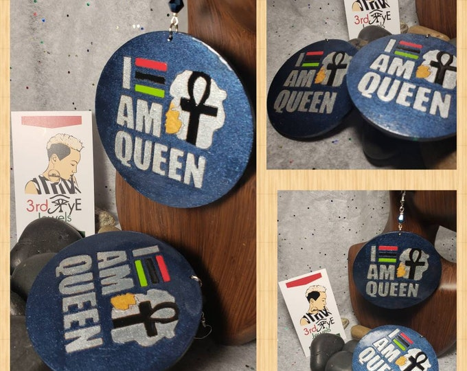 I AM Queen:  Hand painted midnight blue, silver and RBG colors.