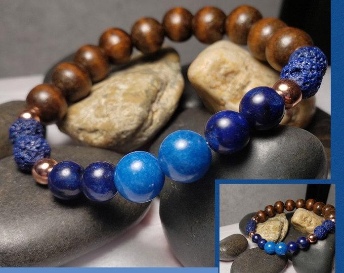 Hand Crafted Men's Natural Stone Meditation Stretch Bracelet