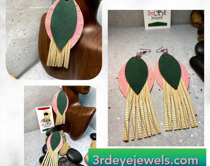 Handmade Abstract Tassel Vegan/Faux Leather Earrings