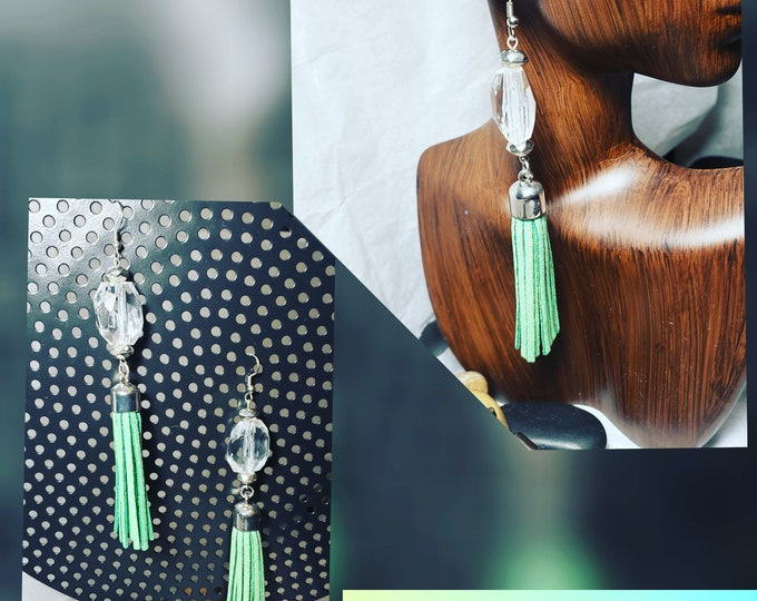 Hand Crafted Tassel Earrings with Silver and glass Bead Embellishments