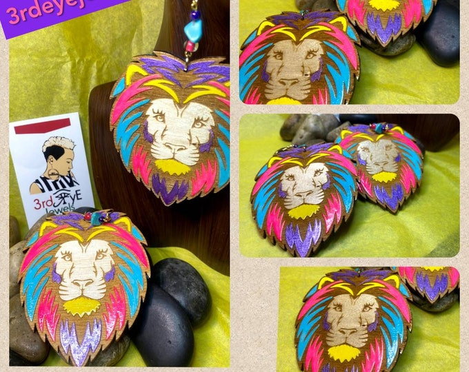 Hand Painted Wood Lion Head Dangle Earrings