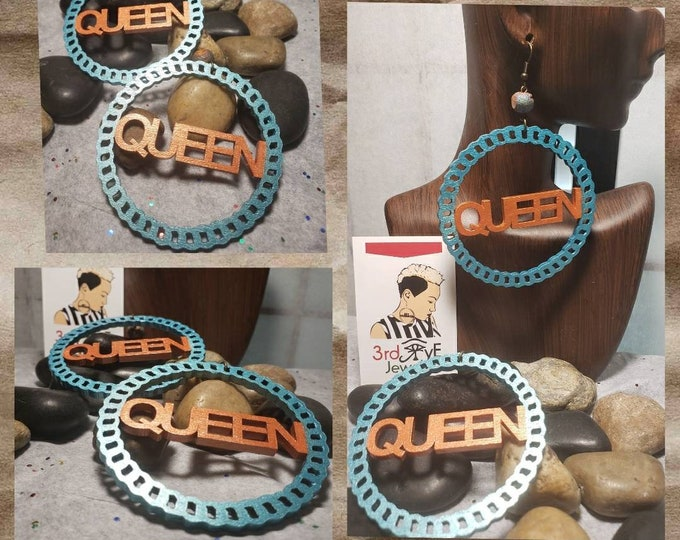 Hand-painted Wood, Queen Hoop Earrings