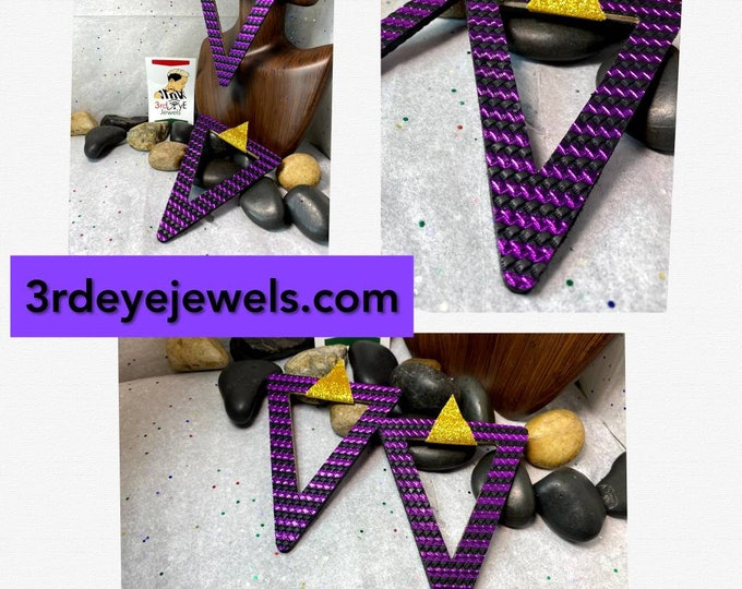 Handmade Geometrical Vegan Leather Exotic Fashion Earrings:  Purple, Black and Gold.