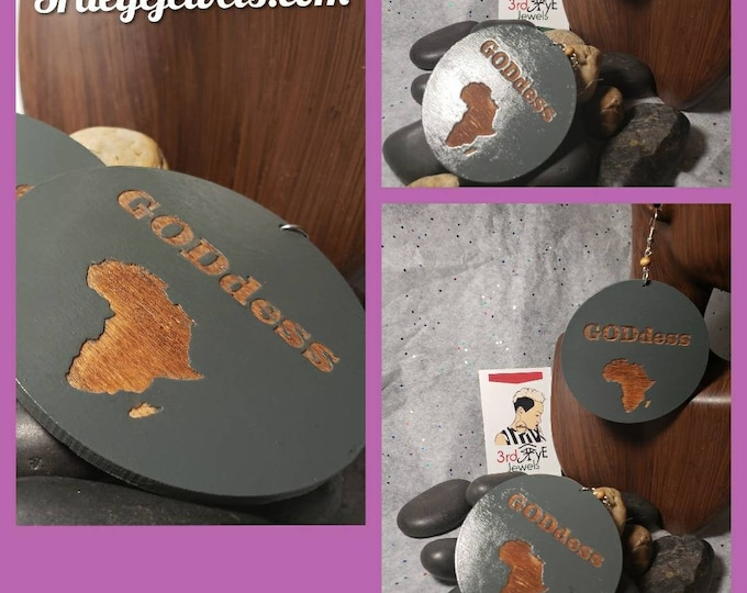 Hand Painted Gray - Goddess Africa Earrings