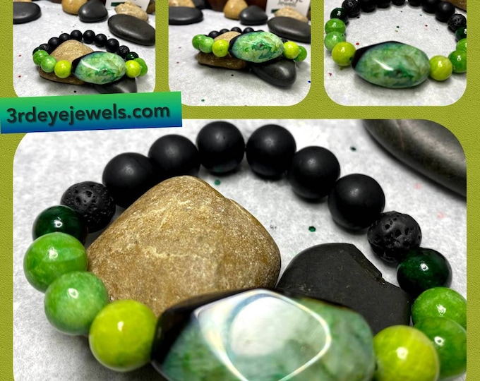 Handmade Men's Green Jasper, Lava and Wood Bead Stretch Bracelet