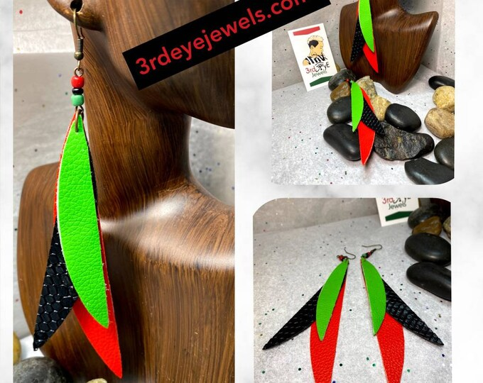 Handmade Faux/Vegan Leather RBG Feather Earrings