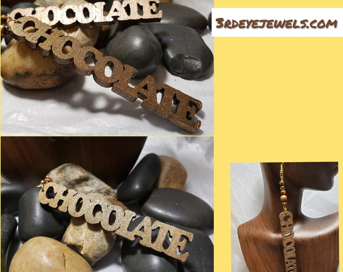 Hand Painted Wood Earrings:  Chocolate Statement Earrings