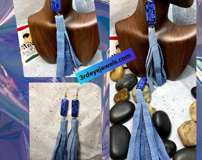 Handmade Blue Jean Denim Tassel Earrings