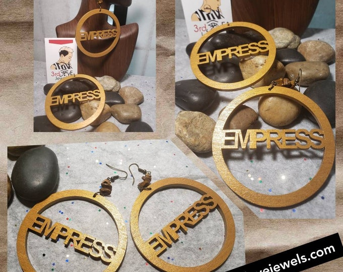 Hand painted Earring Art:  Empress Hoop Earrings