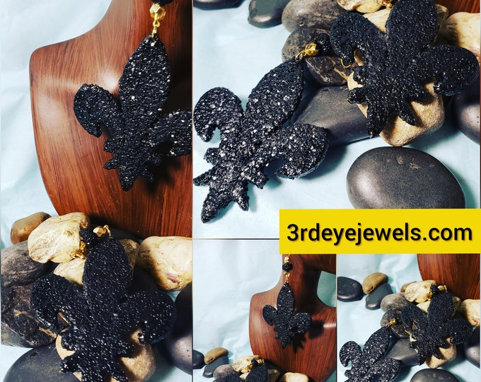 Hand painted Fleur Di Lis Black Earrings