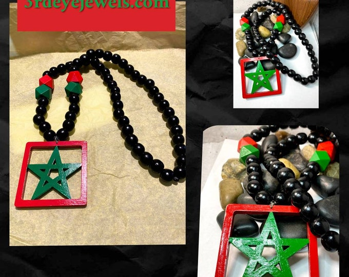 Hand Painted Moorish Star, Wood Bead Necklace.