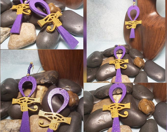 Hand painted Purple and Gold:  Ankh with Eye of Heru