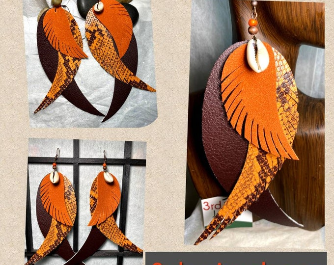 Exotic Vegan Leather: Angel Wings/Bird Feathers Earrings