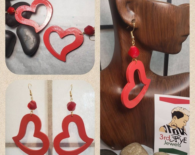 Small Hand painted red, Heart Shaped Dangle Earrings