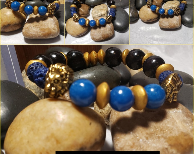 Men's Stretch Bracelet with Blue Jade, lion head and Wood beads