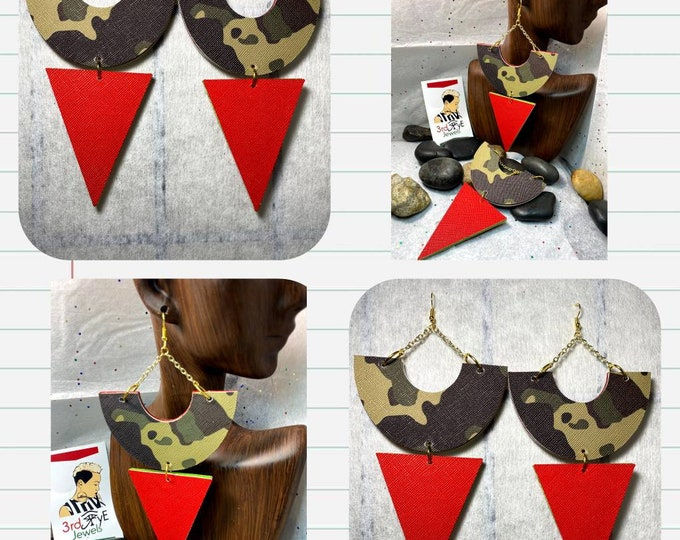 Jazzy Exotic Camouflage Dangle Vegan/Faux Leather Earrings