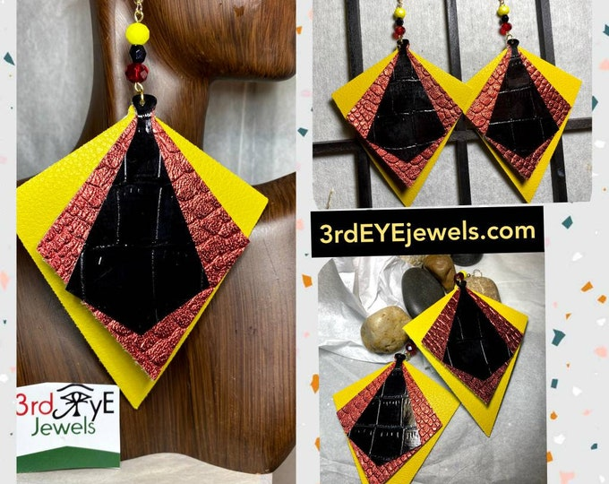 Exotic Vegan Leather:  Tuxedo Dangle Earrings