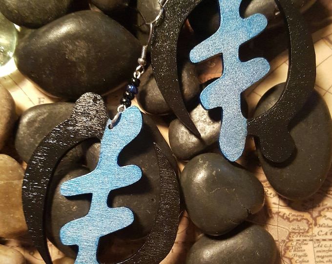 GYE NYAME Adinkra Symbol Dangle Earrings