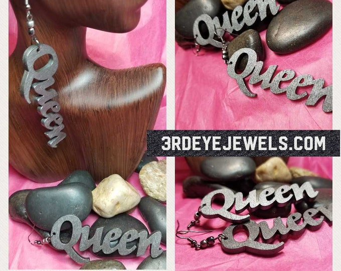 Hand Painted Gunmetal: Queen Earrings