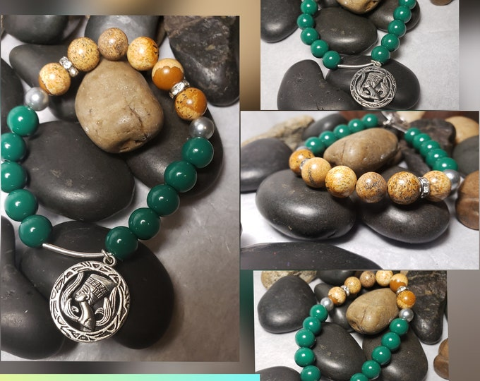 Ladies Glassbead, silver accents and Jasper Stones