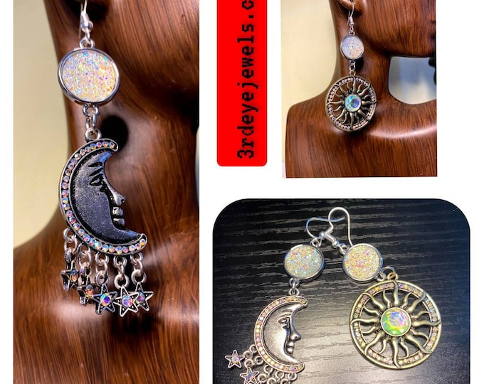 Mixed Matched:  Crescent Moon and Star Earrings
