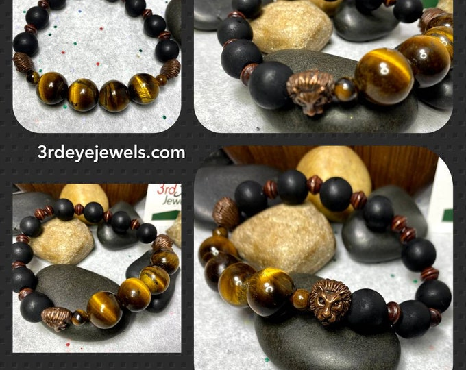 Handmade Men's Stretch Bracelet  Tigers Eye, Clay and Wood Beads