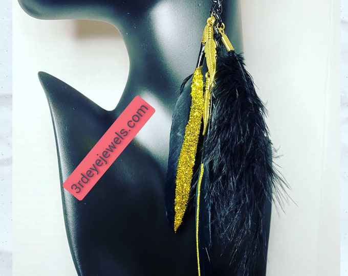 Lucky Black and Gold Feather Earrings