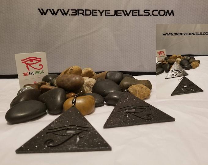 Eye Of RA Pyramid Earrings