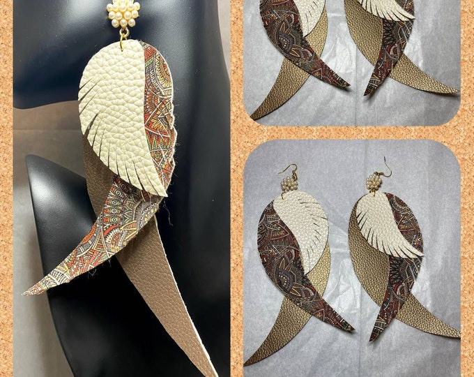 Exotic Bird Feather/Angel Wings Dangle Earrings