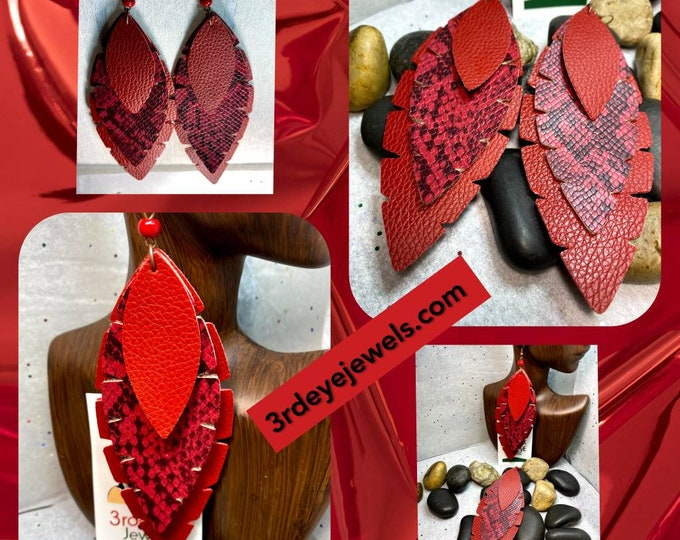 Handcrafted Exotic Vegan Leather Snake Print Dangle Earrings (Faux Leather Earrings)